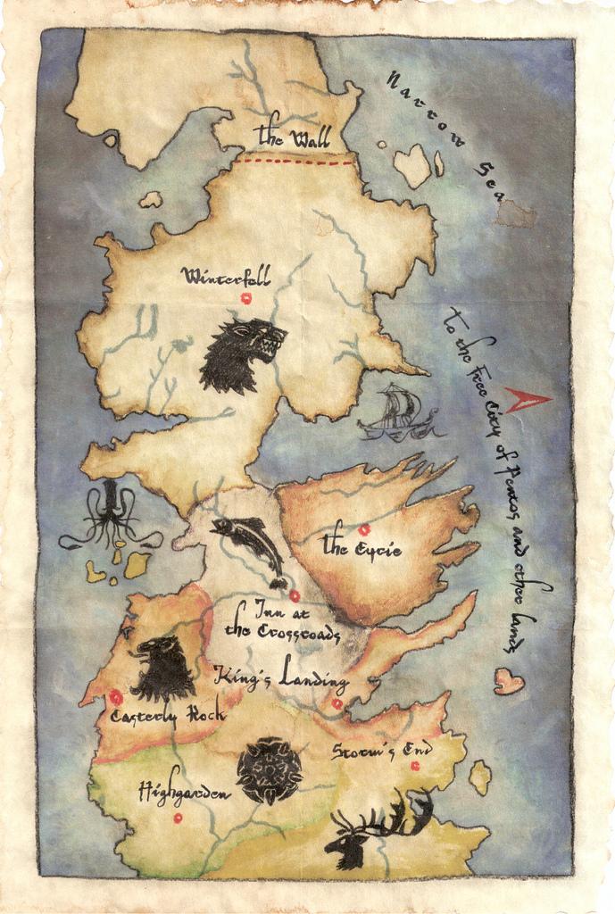 Карта вестероса игра престолов