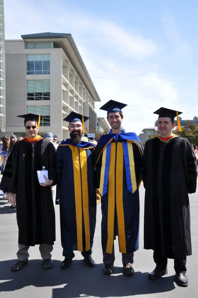 Со своим научным руководителем Miguel Carreira-Perpiñán и коллегами на церемонии вручения PhD, 2014 год