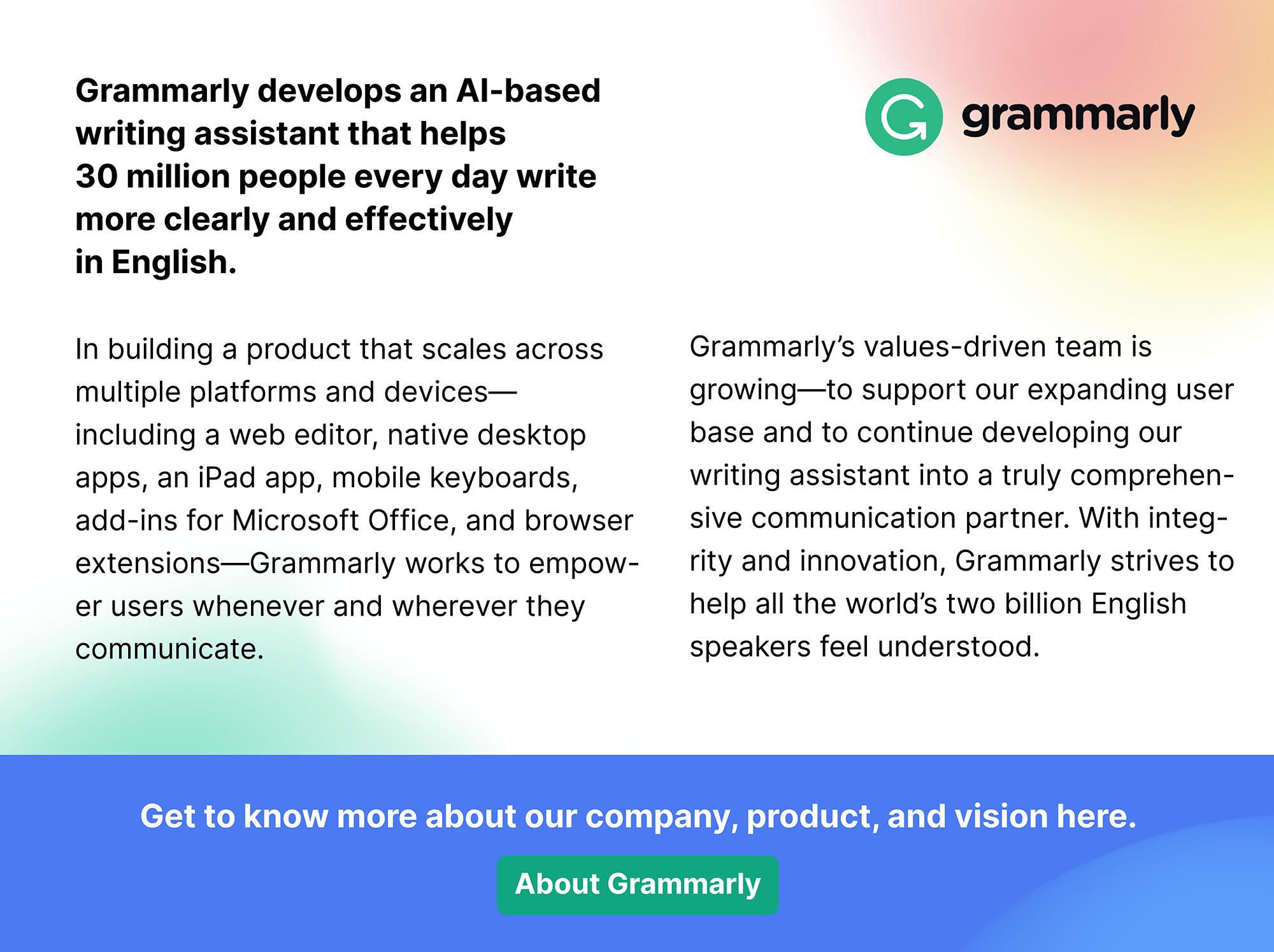 More about Grammarly: grammarly.com/about