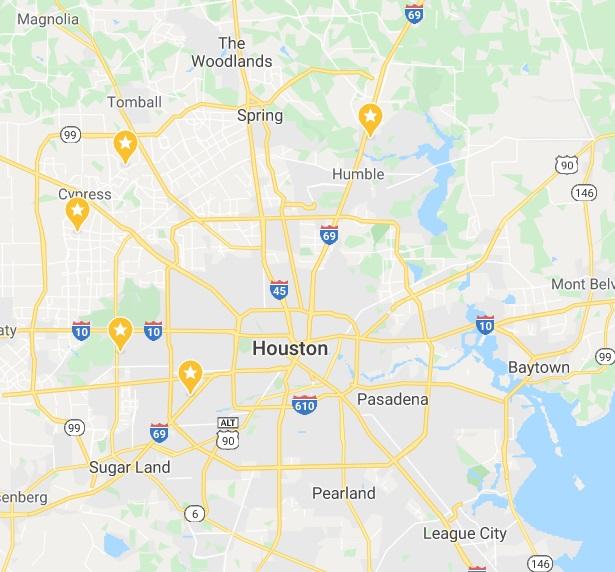 И еще -посмотрите на эту карту - все это должно быть в пяти разных районах Хьюстона!