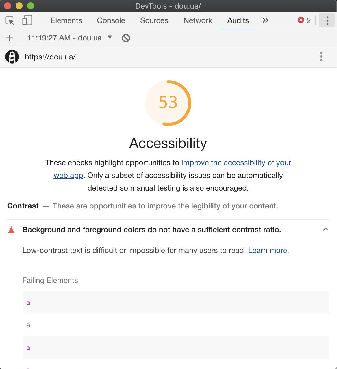 google lighthouse accessibility test